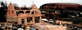 Rekonstrukce starého německého krovu - spojej sou tvořený dřevěnými kolíky